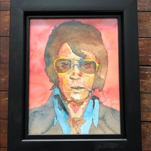 Other - Elvis black framed watercolor painting
